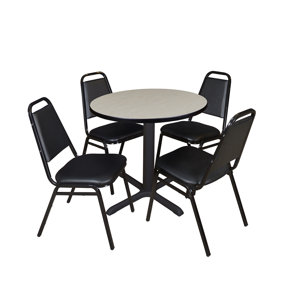 """Round Breakroom Tables And Chair Set Within Preferred Cain 30"""" Round Breakroom Table Maple & 4 Restaurant Stack (View 3 of 20)"""