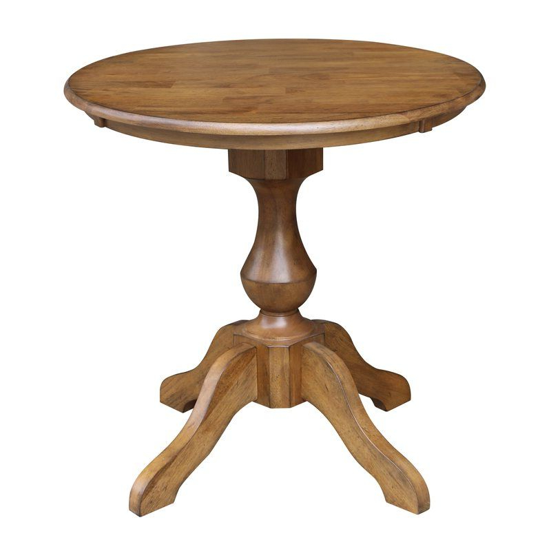 Round For Boothby Drop Leaf Rubberwood Solid Wood Pedestal Dining Tables (View 7 of 20)
