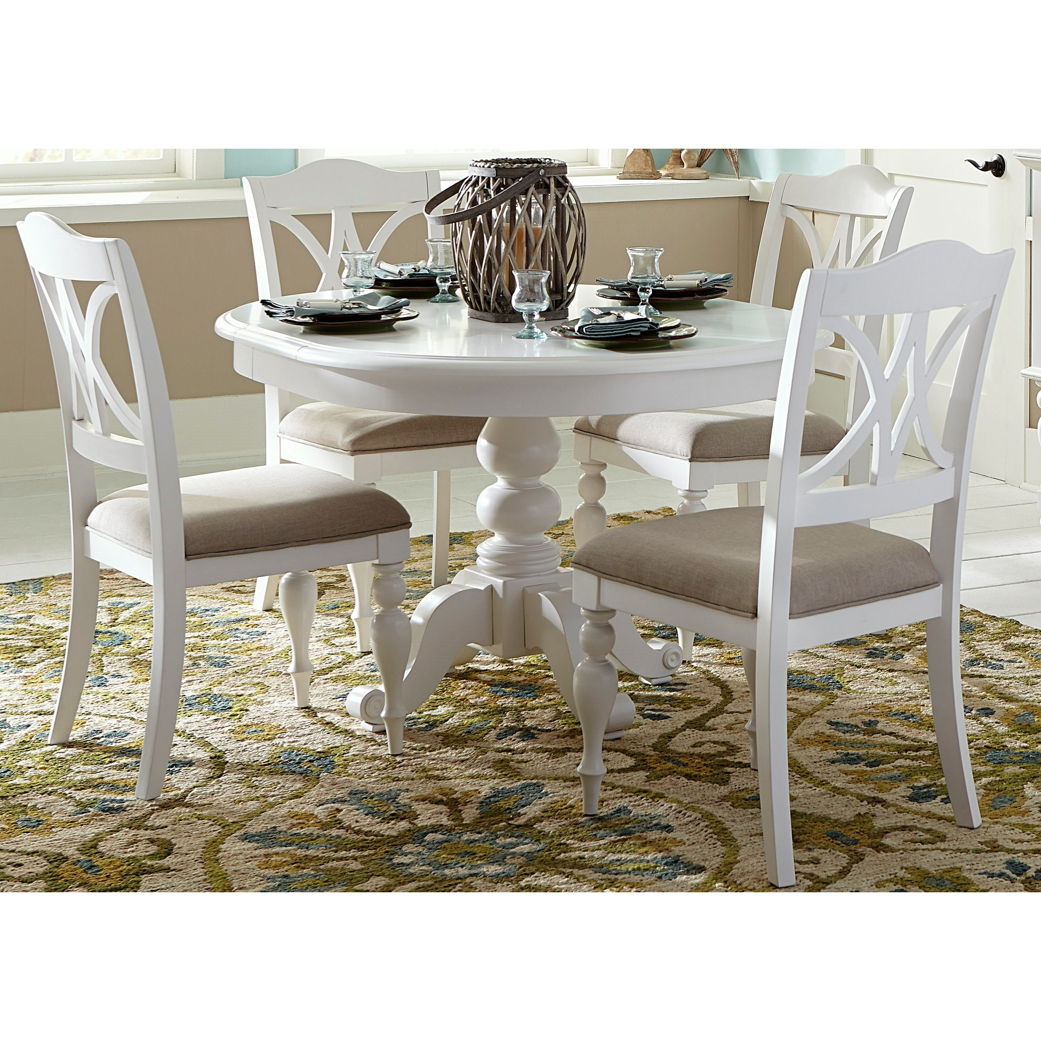 Sarah Randolph Designs Summer House I 5 Piece Pedestal For Most Popular Villani Pedestal Dining Tables (View 15 of 20)
