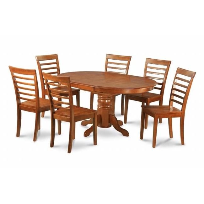 Steven 55'' Pedestal Dining Tables In Most Current East West Furniture Avml5 Sbr W 5pc Oval Dining Set With (View 18 of 20)