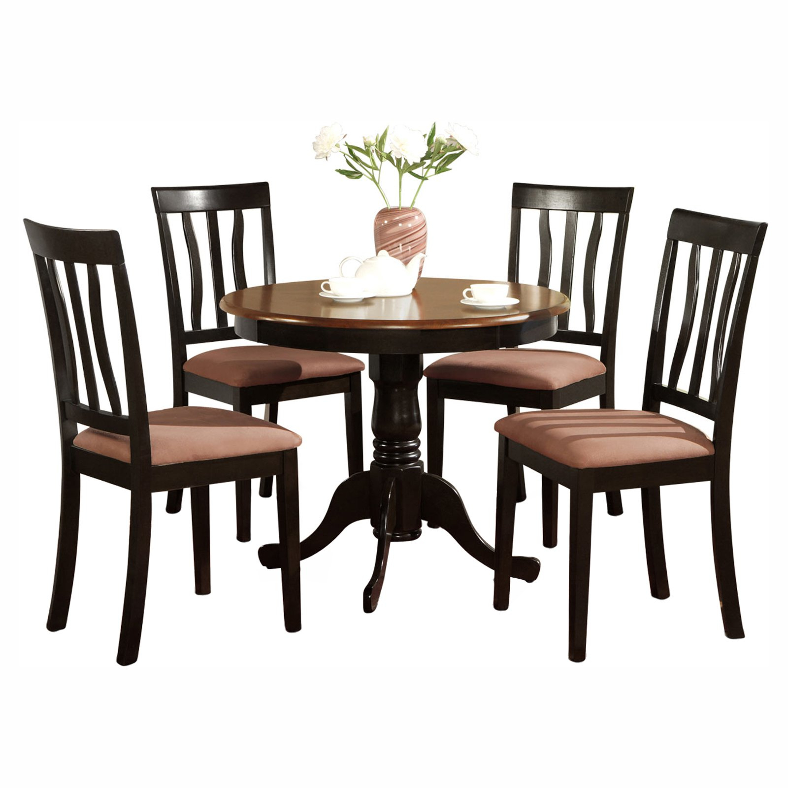 Steven 55'' Pedestal Dining Tables In Newest East West Furniture Antique 5 Piece Pedestal Round Dining (View 12 of 20)