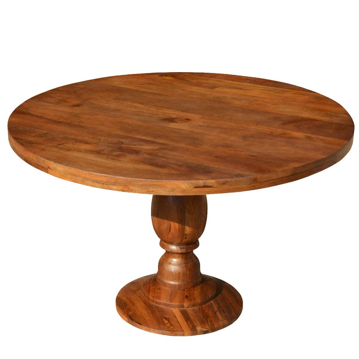 """Tabor 48'' Pedestal Dining Tables Intended For Most Current Rustic Colonial American Solid Wood 48"""" Round Pedestal (View 7 of 20)"""