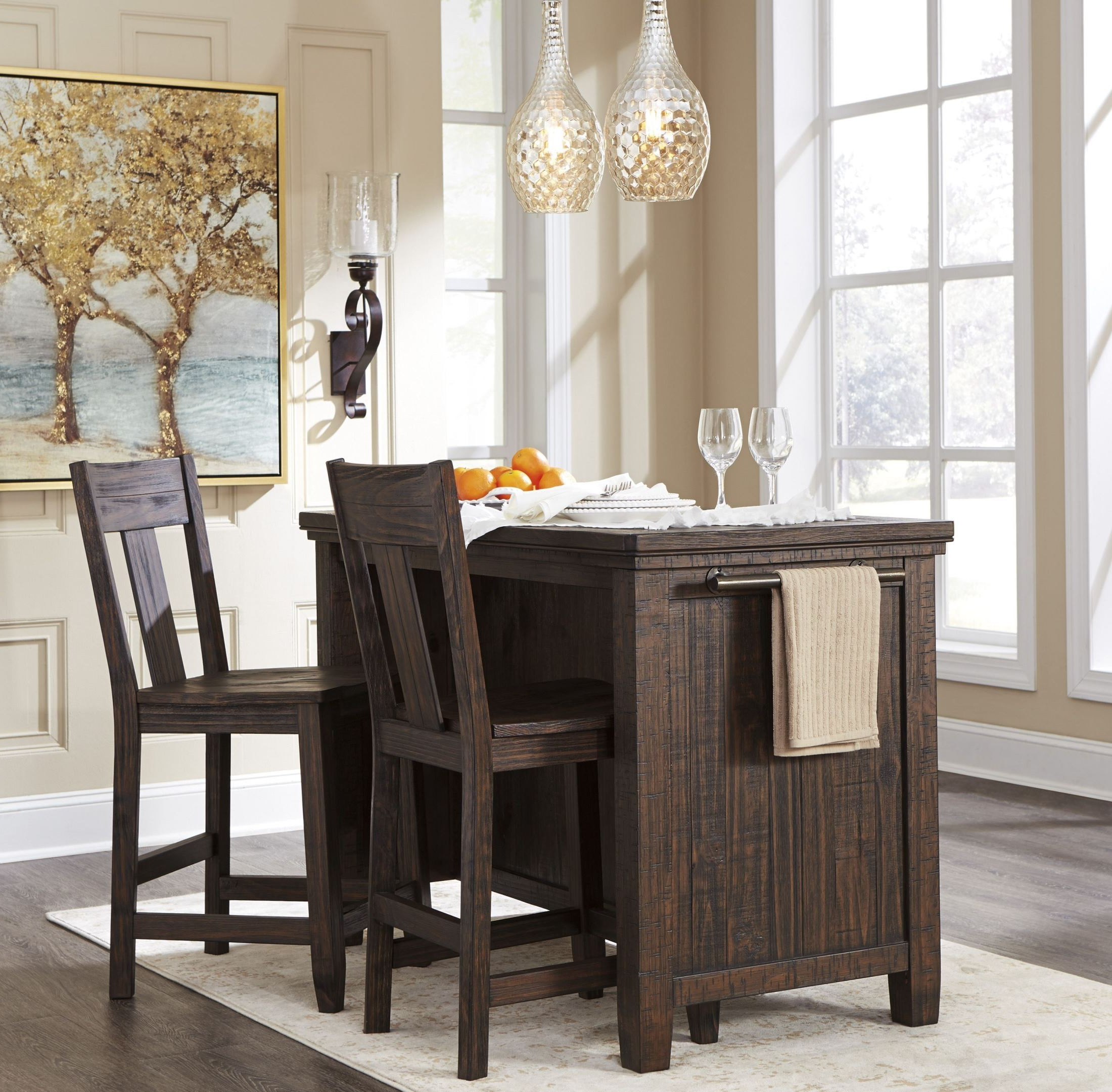 Trendy Desloge Counter Height Trestle Dining Tables Intended For Trudell Dark Brown Rectangular Storage Counter Height (View 15 of 20)