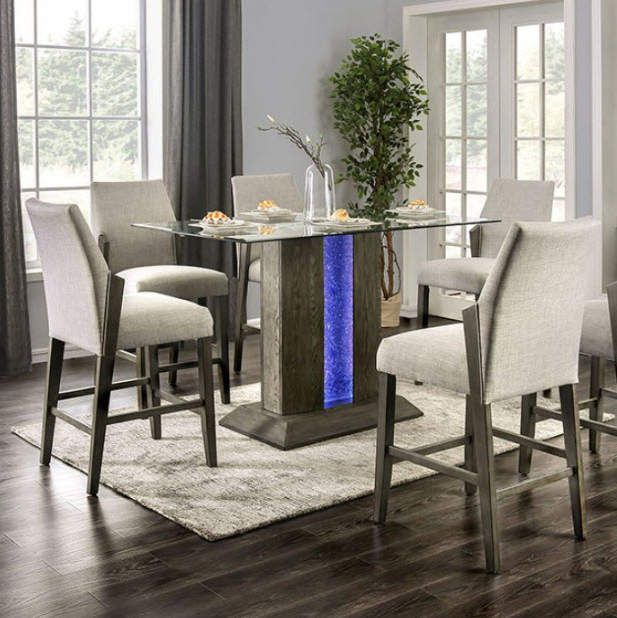 Trendy Turton Ii Led Pedestal Counter Height Dining Table Intended For Dallin Bar Height Dining Tables (View 13 of 20)
