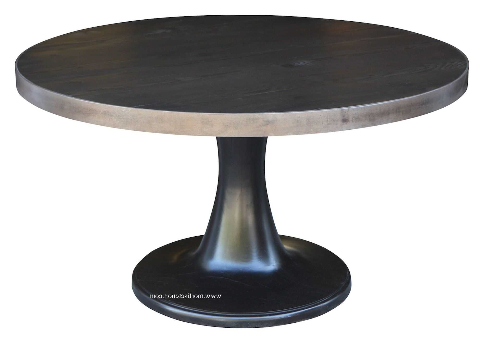 Tulip Base Dining Table With A Metal Band Around The Top Inside Favorite Steven 55'' Pedestal Dining Tables (View 5 of 20)