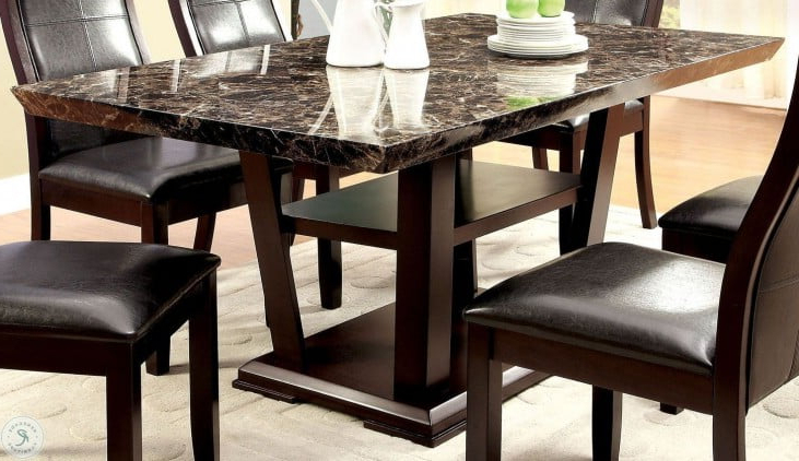 Villani Pedestal Dining Tables Intended For Most Current Clayton I Dark Cherry Rectangular Pedestal Dining Room Set (View 5 of 20)