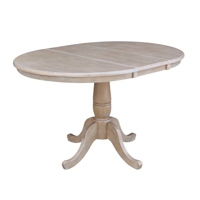 Well Known Boothby Drop Leaf Rubberwood Solid Wood Pedestal Dining Tables With Regard To Overbay Extendable Solid Wood Dining Table In (View 2 of 20)