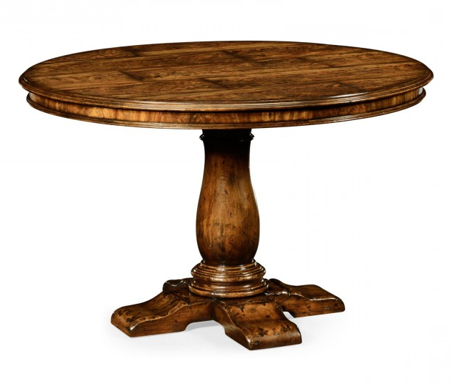 """Well Known Corvena 48'' Pedestal Dining Tables Pertaining To 48"""" Distressed Crotch Walnut Pedestal Table (View 6 of 20)"""