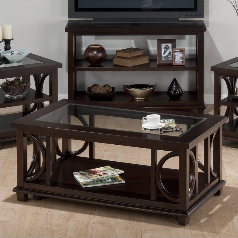 """Well Known Jofran Panama Rectangle Cocktail Table With Glass Insert In Dionara 56"""" L Breakroom Tables (View 15 of 20)"""