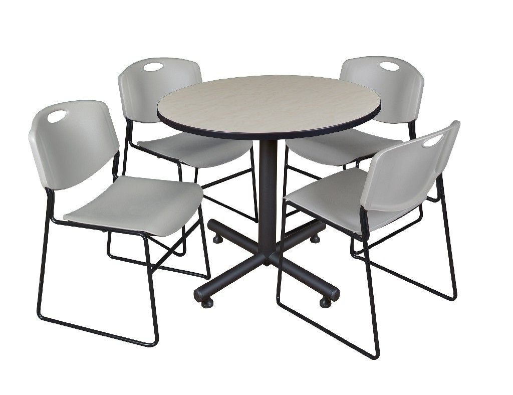 """Well Known Kobe 42"""" Round Breakroom Table In Maple & 4 Zeng Stack Within Round Breakroom Tables And Chair Set (View 9 of 20)"""