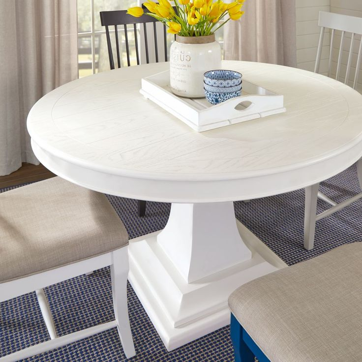 Well Known Steven 55'' Pedestal Dining Tables Pertaining To Cindy Crawford Home Cape Cottage White Round Dining Table (View 20 of 20)