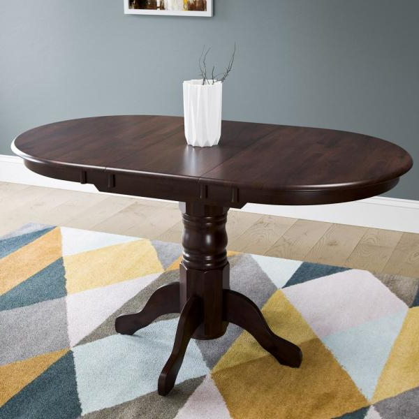 Well Liked Corliving Dillon Cappuccino Stained Wood Extendable Oval Within Villani Pedestal Dining Tables (View 2 of 20)