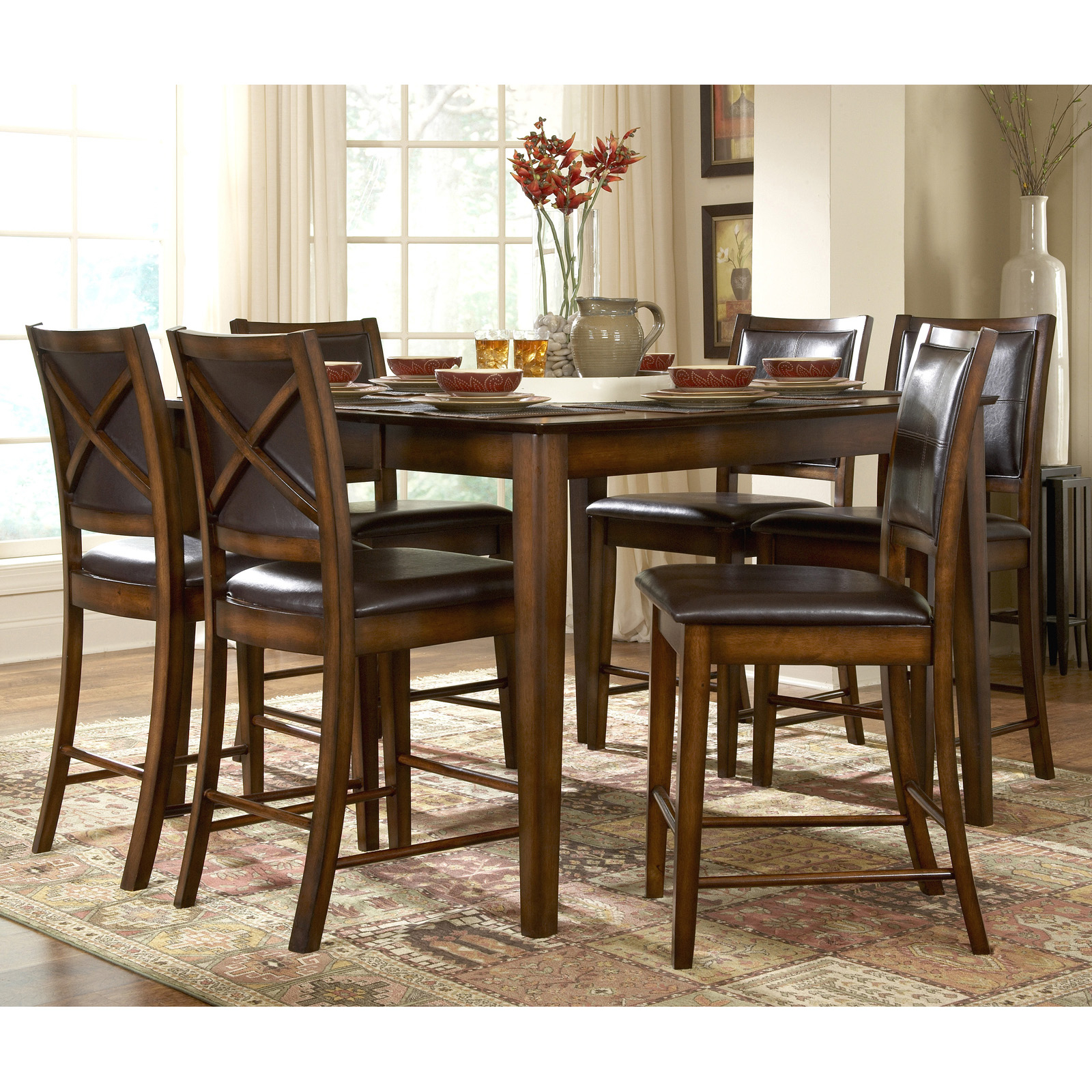 Well Liked Desloge Counter Height Trestle Dining Tables For Homelegance Verona 7 Piece Counter Height Table Set (View 17 of 20)