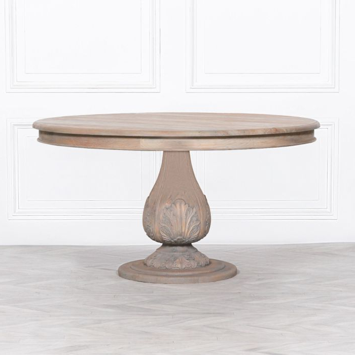 Well Liked Steven 55'' Pedestal Dining Tables Regarding Light Wooden Round Pedestal Acorn Dining Table 150cm (View 4 of 20)