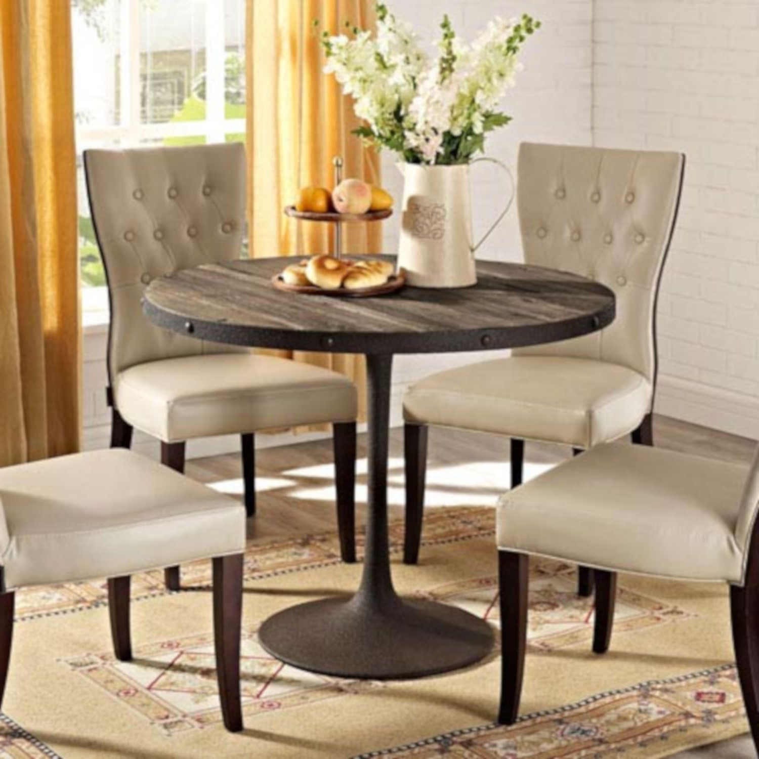 Widely Used 251 First Fulton Brown 40 Inch Pine Wood Top Dining Table In Servin 43'' Pedestal Dining Tables (View 7 of 20)