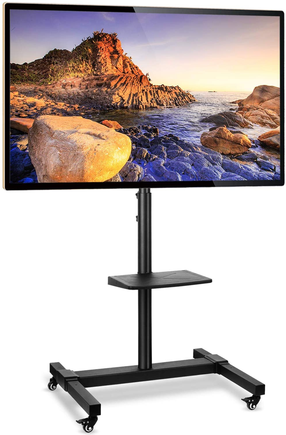 10 Best Rolling Tv Stands In 2020 | Unbiased Review Throughout Rolling Tv Stands With Wheels With Adjustable Metal Shelf (View 16 of 20)