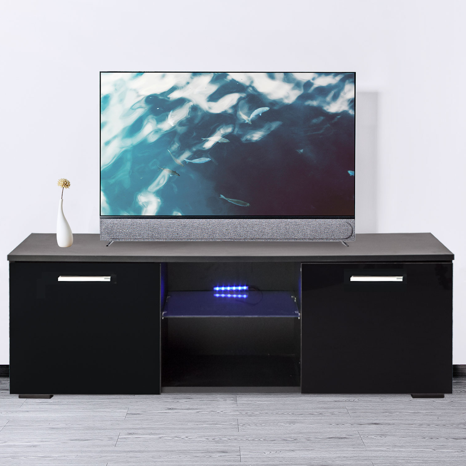 120cm Tv Cabinet Stand Unit Modern Led Light High Gloss 2 Throughout Ktaxon Modern High Gloss Tv Stands With Led Drawer And Shelves (View 12 of 20)