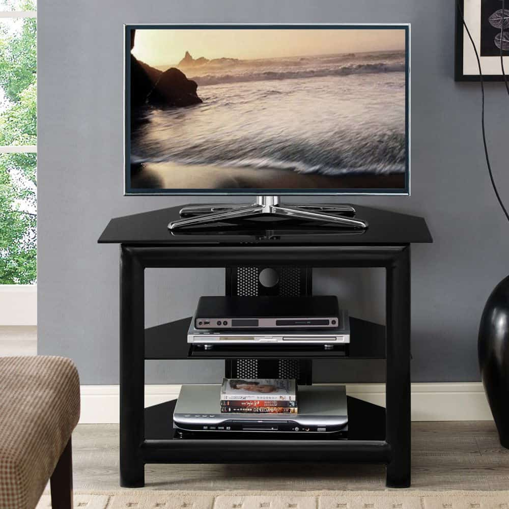 14 Best Small Tv Stands For 2019 With Rfiver Black Tabletop Tv Stands Glass Base (View 11 of 20)