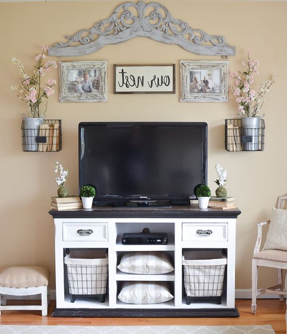 15 Stylish Design Tall Tv Stand For Bedroom Ideas Within Rustic Grey Tv Stand Media Console Stands For Living Room Bedroom (View 11 of 20)