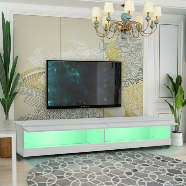 180cm Tv Stand Cabinet With Led Lights Entertainment For Galicia 180cm Led Wide Wall Tv Unit Stands (View 7 of 20)