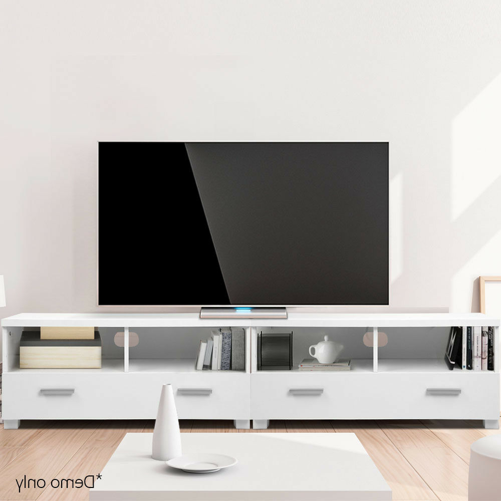 180cm Tv Stand Entertainment Unit 3 In 1 Design 2 Drawers Within Hannu Tv Media Unit White Stands (View 3 of 20)