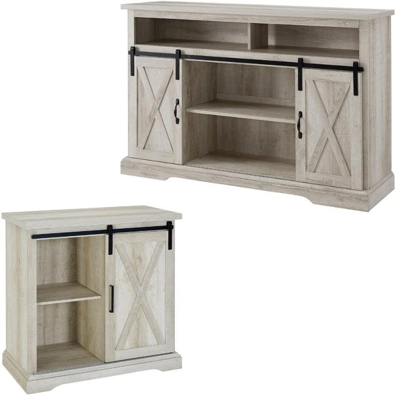 2 Piece Barn Door Tv Stand Console And Buffet Cabinet Set With Regard To Tv Stands With Sliding Barn Door Console In Rustic Oak (View 10 of 20)