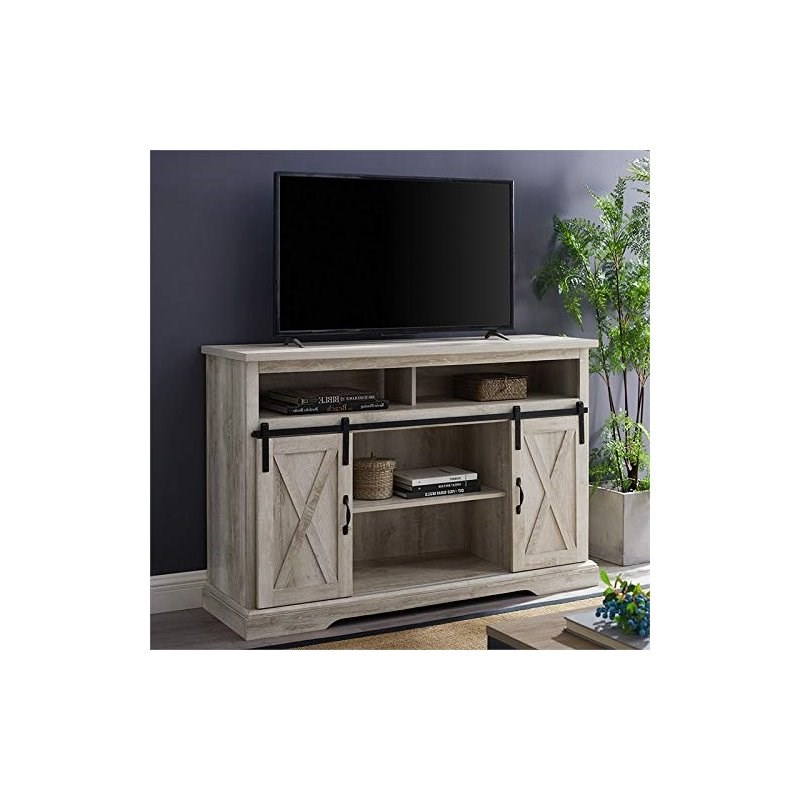 2 Piece Barn Door Tv Stand Console And Buffet Cabinet Set Within Tv Stands With Sliding Barn Door Console In Rustic Oak (View 3 of 20)