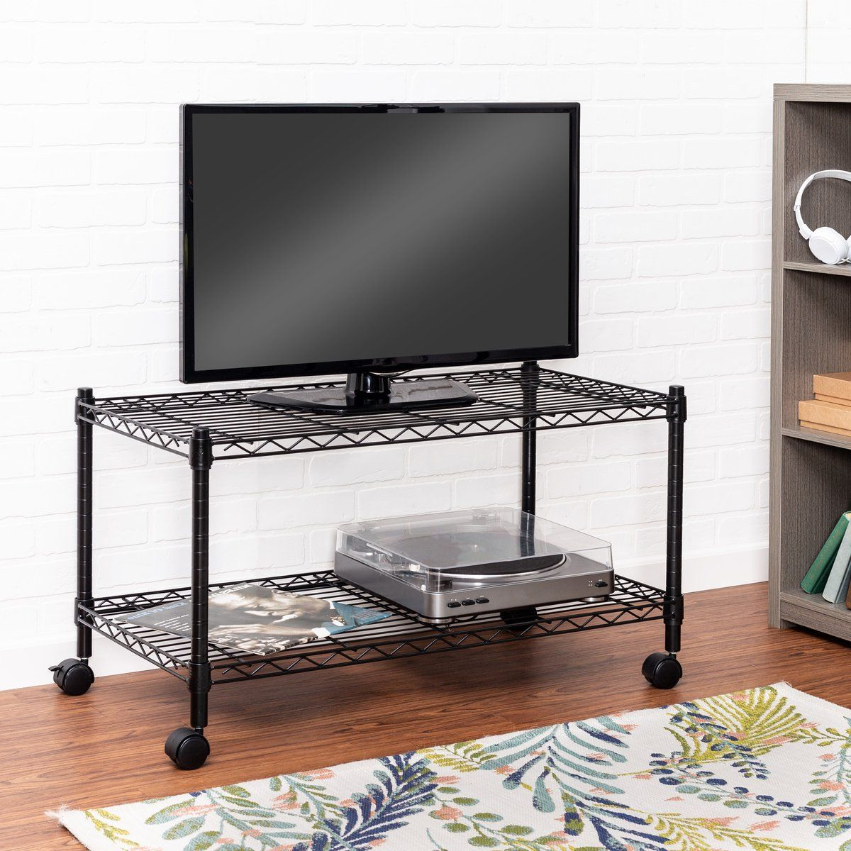 2 Tier Tv Stand And Media Cart, Black | Home Gathering Intended For Rolling Tv Stands With Wheels With Adjustable Metal Shelf (View 5 of 20)