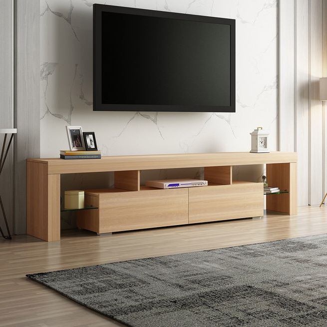200cm Tv Stand Cabinet 2 Drawers Entertainment Unit Wooden Within High Glass Modern Entertainment Tv Stands For Living Room Bedroom (View 10 of 20)