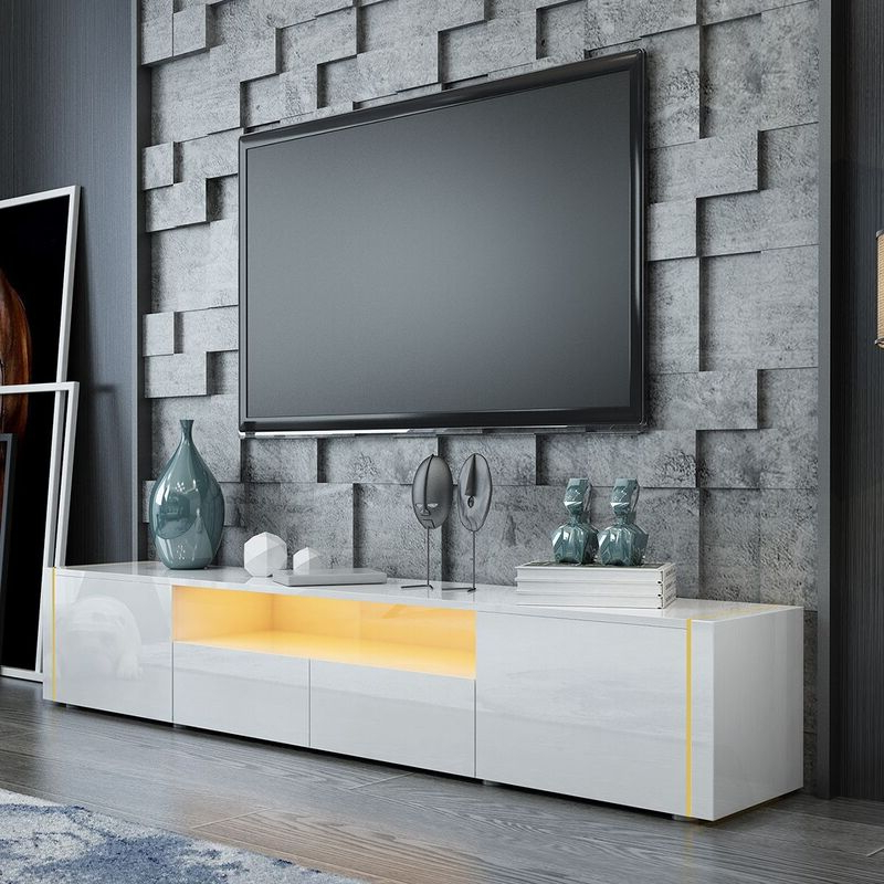 205cm Tv Stand Cabinet Wood Entertainment Unit Storage With Horizontal Or Vertical Storage Shelf Tv Stands (View 14 of 20)