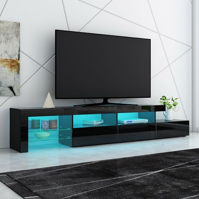240cm Tv Cabinet Entertainment Unit High Gloss Wooden 3 For Ktaxon Modern High Gloss Tv Stands With Led Drawer And Shelves (View 7 of 20)