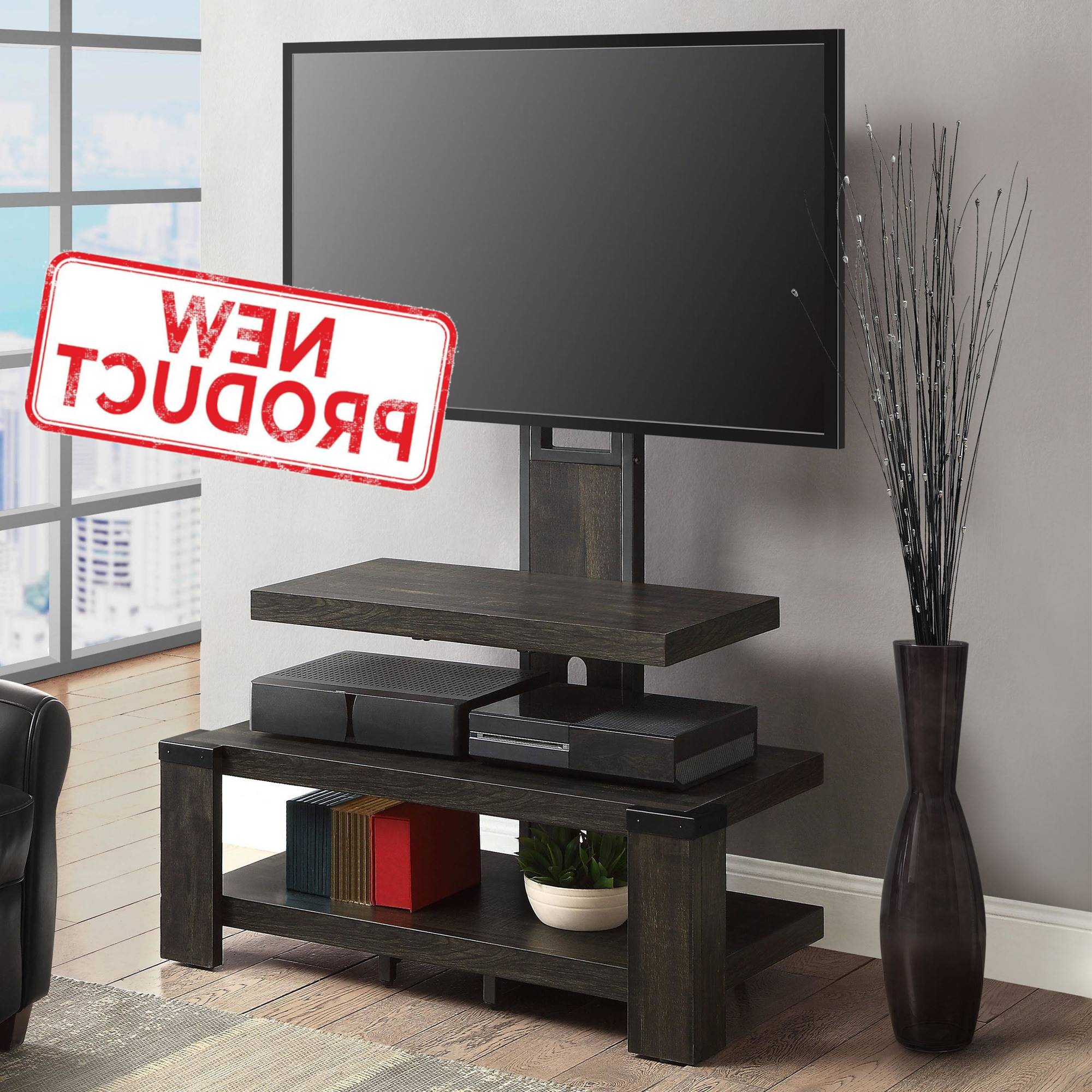 3 Shelf Tv Stand W/ Floater Mount Flat 55 Inch Media Within Whalen Shelf Tv Stands With Floater Mount In Weathered Dark Pine Finish (View 1 of 20)