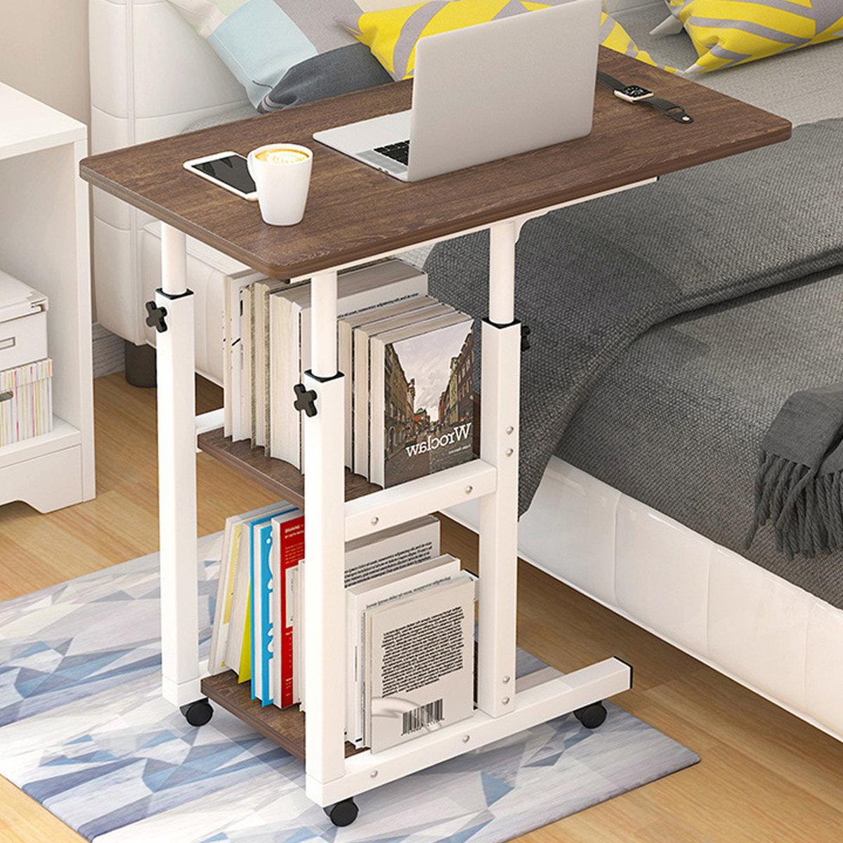 3 Tier Portable End Table Coffee Table With Wheels, Height Within Fitueyes Rolling Tv Cart For Living Room (View 9 of 20)