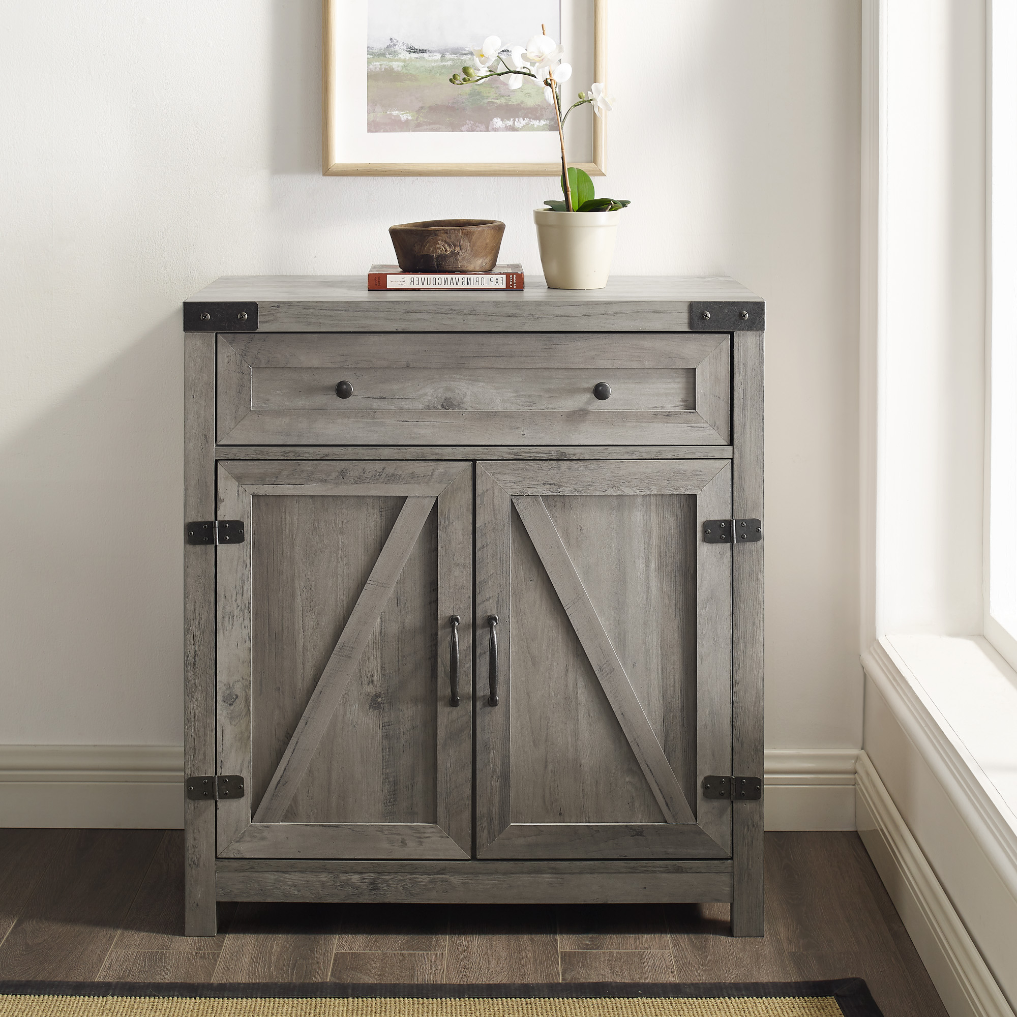 """30"""" Farmhouse Barn Door Accent Cabinet – Grey Wash 