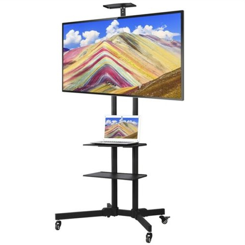 """32 65"""" Adjustable Mobile Tv Stand Mount Universal Flat Intended For Easyfashion Adjustable Rolling Tv Stands For Flat Panel Tvs (View 7 of 20)"""