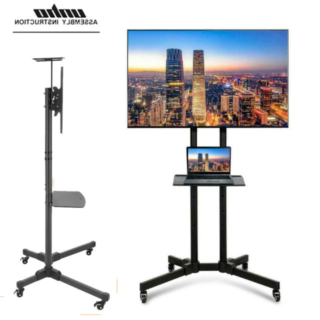 """32 70"""" Adjustable Mobile Tv Stand Mount Universal Flat For Easyfashion Adjustable Rolling Tv Stands For Flat Panel Tvs (View 3 of 20)"""