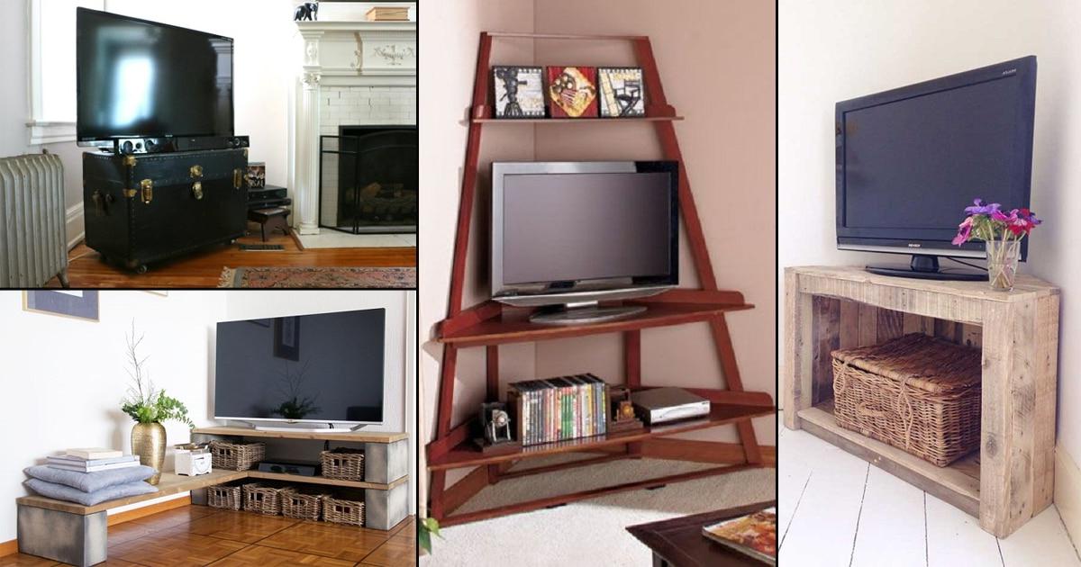 32 Diy Corner Tv Stand Ideas | Diy Tv Shelf Intended For Exhibit Corner Tv Stands (View 15 of 20)
