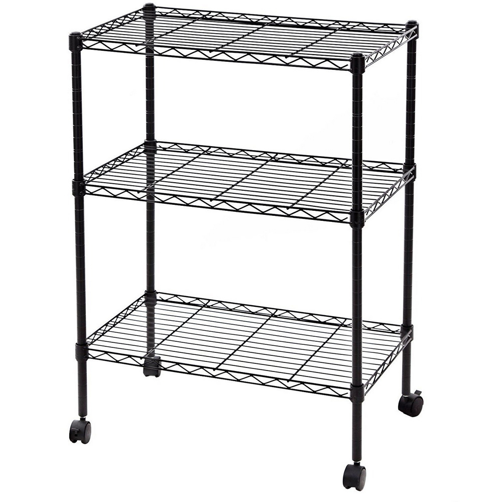 """34x24x14"""" 3 Tier Layer Shelf Adjustable Wire Metal With Rolling Tv Stands With Wheels With Adjustable Metal Shelf (View 13 of 20)"""