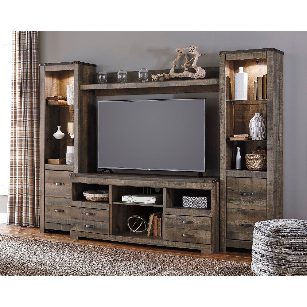 4 Piece Rustic Charcoal Brown Entertainment Center Throughout Tv Stands In Rustic Gray Wash Entertainment Center For Living Room (View 13 of 20)