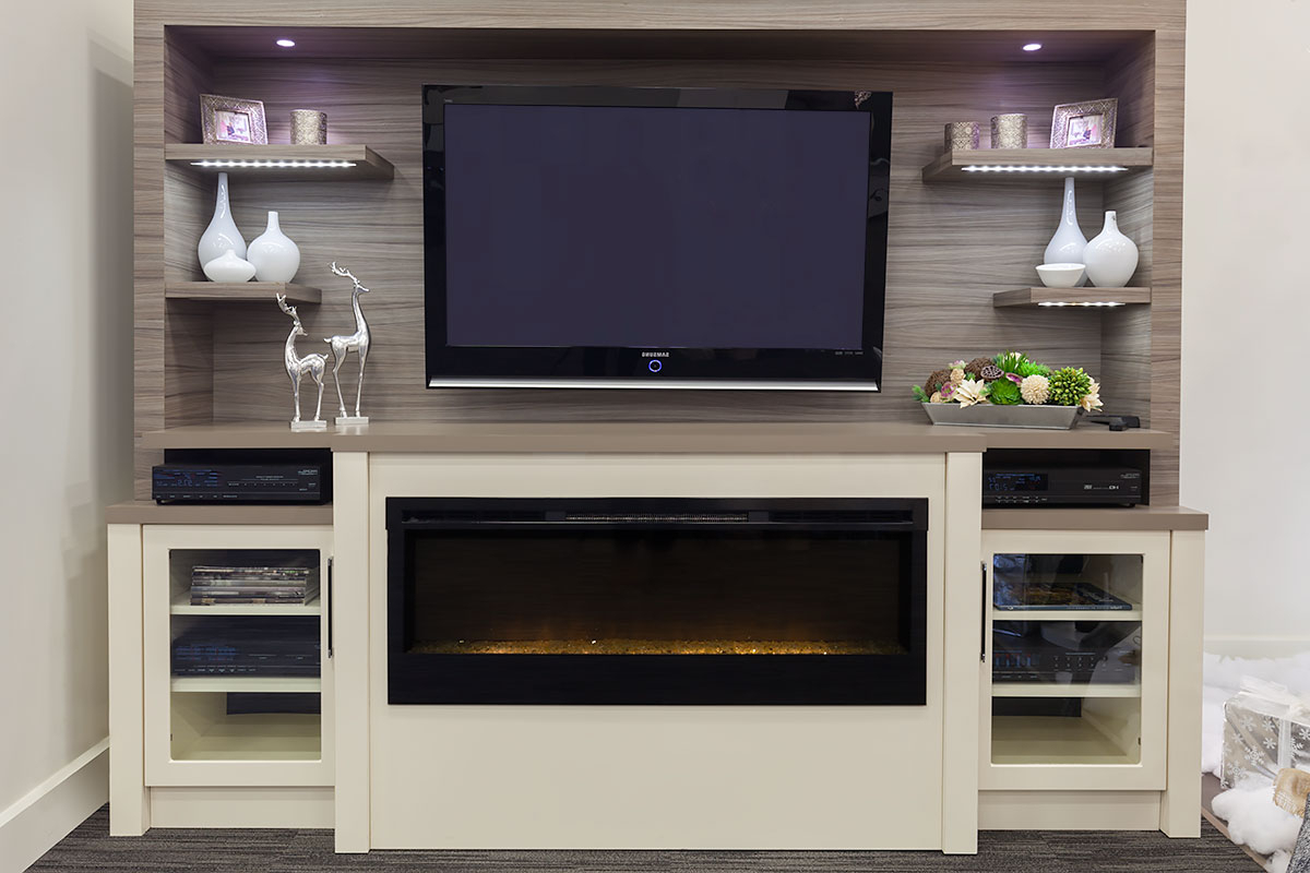 """[40+] Wall Unit Entertainment Center With Electric Fireplace Inside Boston 01 Electric Fireplace Modern 79"""" Tv Stands (View 3 of 7)"""