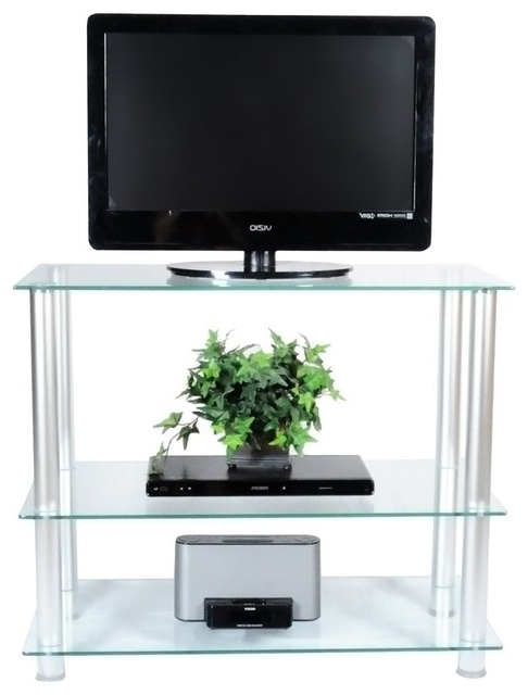 """42"""" Glass And Aluminum Extra Tall Tv Wall Unit Tv Stand With Space Saving Black Tall Tv Stands With Glass Base (View 7 of 20)"""
