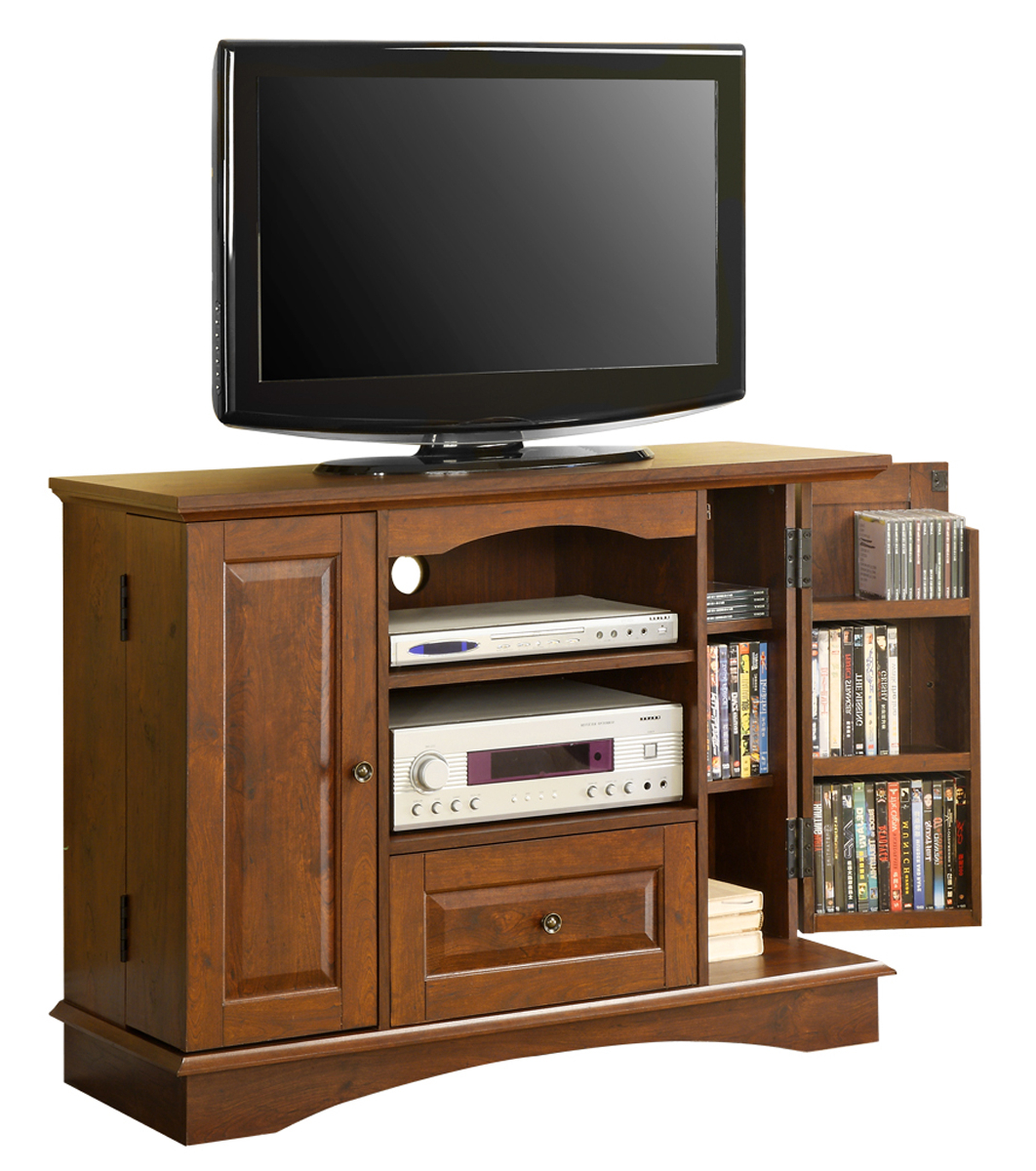 42 Inch Wood Tv Stand With Media Storage In Tv Stands Intended For Horizontal Or Vertical Storage Shelf Tv Stands (View 6 of 20)