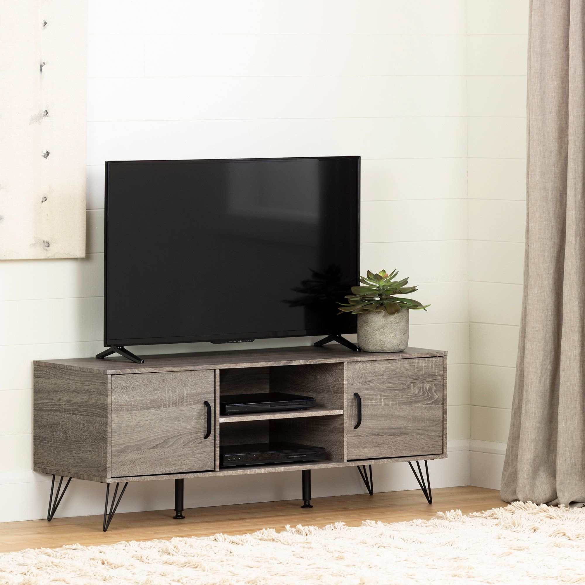 47 Inch Oak Caramel Tv Stand With Doors – Evane In 2020 With Regard To South Shore Evane Tv Stands With Doors In Oak Camel (View 6 of 20)