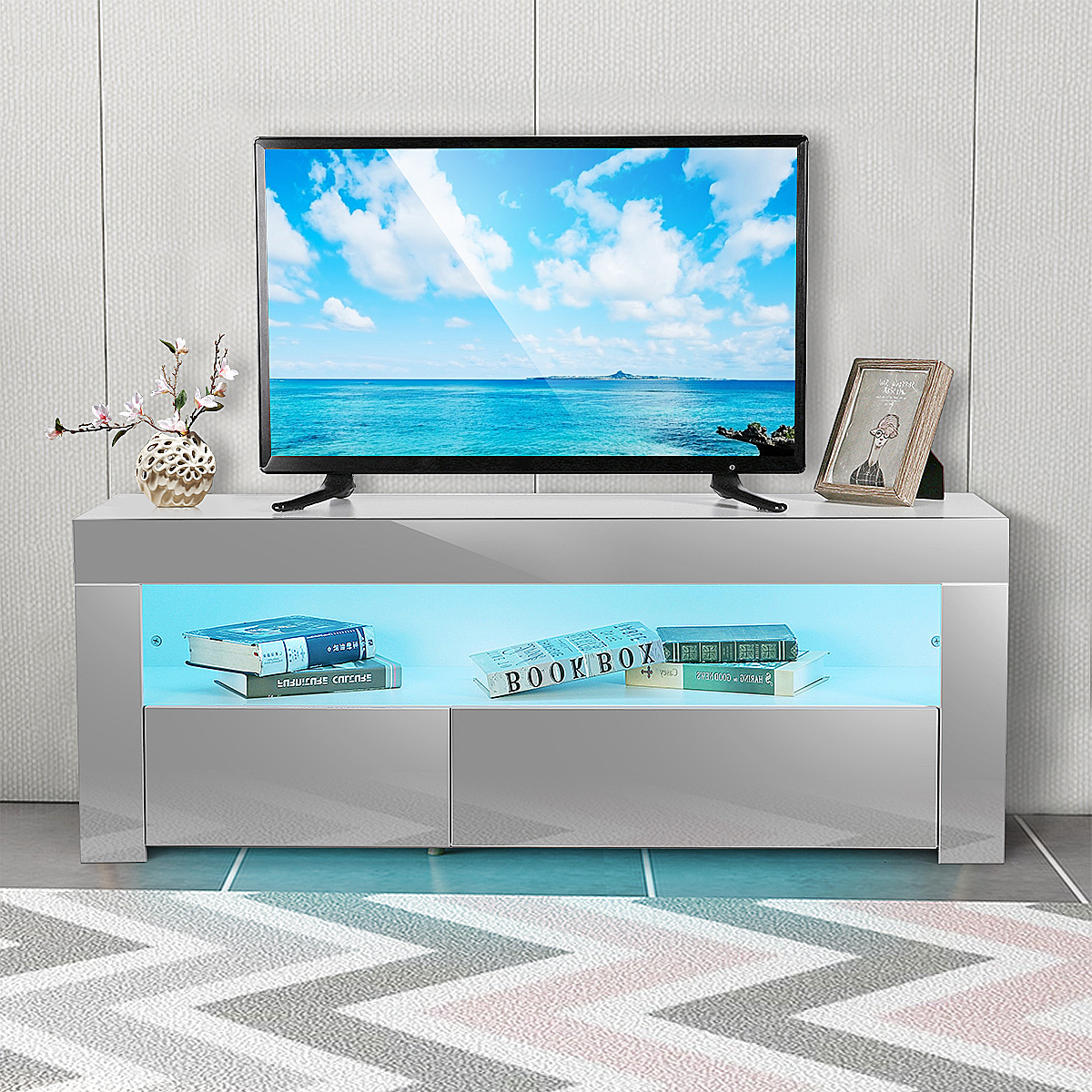 """47"""" Tv Stand High Gloss Tv Cabinet, With 16 Color Leds, 2 In Twila Tv Stands For Tvs Up To 55"""" (View 17 of 20)"""