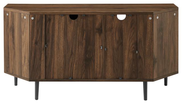 """48"""" 2 Door Glass Shelf Corner Tv Console, Dark Walnut Pertaining To Basie 2 Door Corner Tv Stands For Tvs Up To 55"""" (View 16 of 20)"""