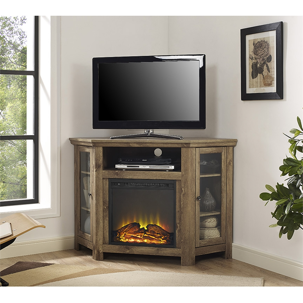 """48"""" Corner Fireplace Tv Stand – Barnwood With Wide Tv Stands Entertainment Center Columbia Walnut/black (View 8 of 20)"""
