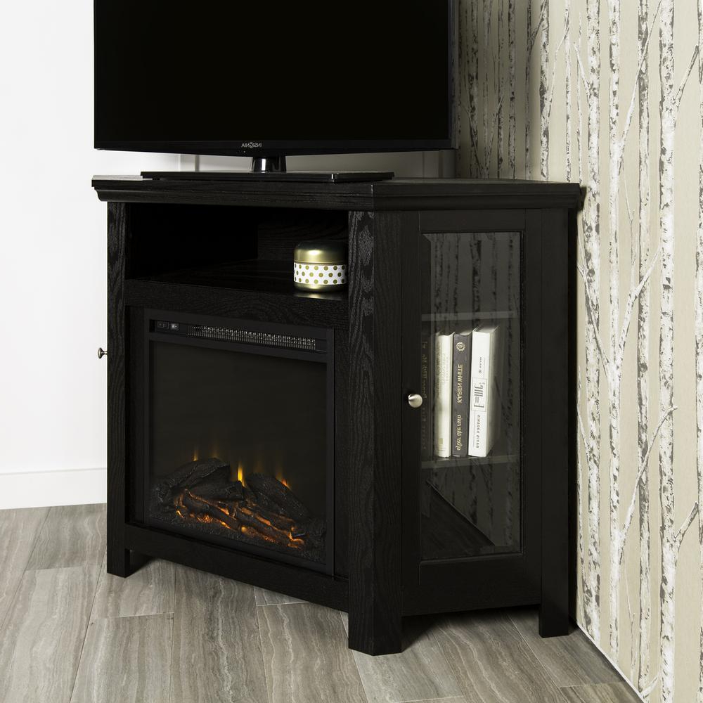 """48"""" Corner Fireplace Tv Stand – Black For Space Saving Black Tall Tv Stands With Glass Base (View 16 of 20)"""