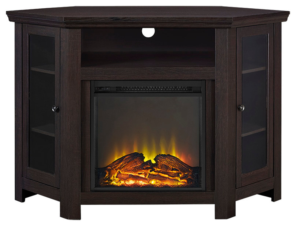 """48"""" Corner Fireplace Tv Stand – Transitional Throughout Zena Corner Tv Stands (View 3 of 20)"""