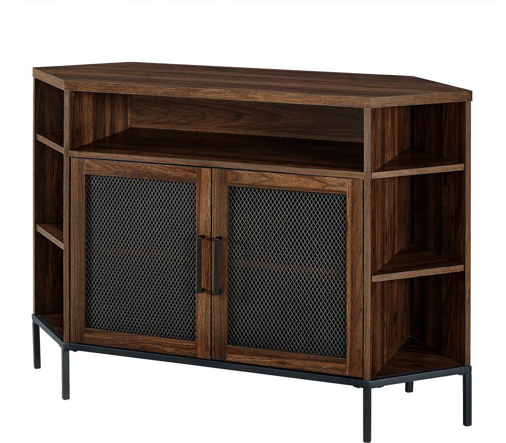 """48"""" Industrial Mesh Door Corner Tv Console, Dark Walnut Within Grooved Door Corner Tv Stands (View 12 of 20)"""