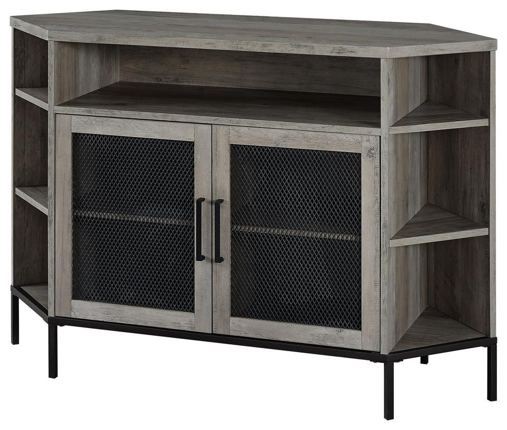 """48"""" Industrial Mesh Door Corner Tv Console, Gray Wash In Grooved Door Corner Tv Stands (View 15 of 20)"""